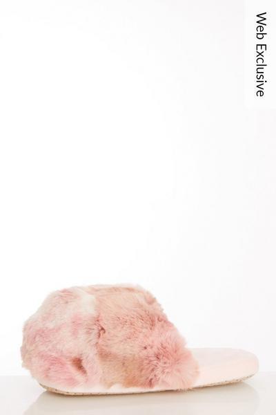 Pink Faux Fur Mule Slippers